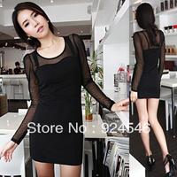 Gauze summer one-piece dress long-sleeve slim hip sexy women's brief 2013 miniskirt