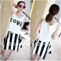 Free Shipping 2014 Fashion Women Sexy Summer Casual Sport Suit 2 pcs Set Cotton Short Skirt Sports Wear Set Top+Skirt wholesale