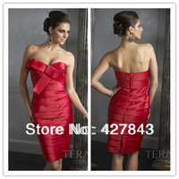 Fashion Red Sweetheart with Bow Satin Layer Above Knee Party Dress