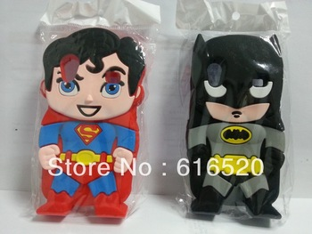 Retail 1pcs/lot 3D Cute Superman Super Hero Batman Soft Silicone Case Back Cover for Samsung Galaxy Ace S5830 Free Shipping