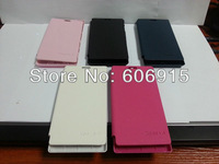 1pcs/lot Ultra Thin Slim Side Back Battery Flip cover PU Leather Housing case for  Sony Xperia J St26i