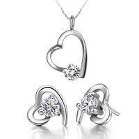 Cheap Gold Plated Lover Crystal Heart Silver 925 Set Bride Accessories Earrings Necklace