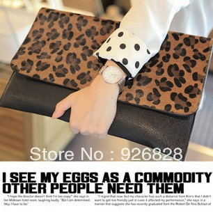 Lowest! 2014 new promotion women's fashion leopard print day clutch evening bag purse Factory outlet free shipping PU female bag