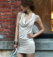Dicount Cheap 2013 Women Ball Party Clubwear  Backless Sleeveless Mini Sexy Dress Free Shipping