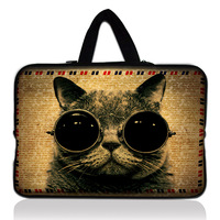 "Cool Cat 17"" Soft Neoprene Computer Sleeve Case Cover Inside Handle 16"" 17"" 17.4"" for Macbook Air Samsung HP Dell Sony"