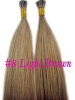 Brazilian 2013 hot sale huam hair extension i-tip hair #8Light Brown 1g/Strand,100 Strand/pack
