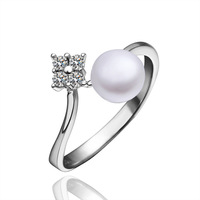 Platinum Plating Pearl Rings High Quality Inlaid Zircon Jewelry Wedding Gifts Wholesale Free Shipping PLR009