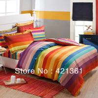 Rainbow Color bar 100% Cotton bedding set  Reactive printing bedclothes duvet cover sheet Pillow Cover king queen size 95