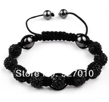 Min order is $10(mix order) Shamballa jewelry women Bracelets Micro Pave CZ Disco 10mm Ball Bead Shamballa Bracelet black BR343