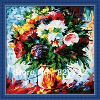 JIUJIU DIY digital oil painting Free shipping arcylic canvas paint home decoration 40X40cm Colorful daisies paint by number