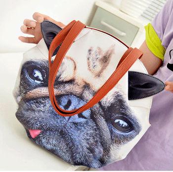 Free shipping Women Fashion PU leather elegant print animal cat  dog leopard Tote handbags  Bolso bolsa Saco Tasche sac  borsa