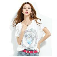 women's print t-shirt lovely little owl high quality 2014 hot big size cotton t shirt short sleeve tee LBZ20 Free shiping TS-067