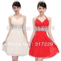 New Fashion Hotsale Woman Halter Slim Chiffon Off Shoulder Graceful Short Evening Party Dress FZ070