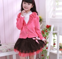 2013 Hot selling spring and autumn elegant girl's floral decorate lapel clothing set (1 set= 1 coat +1 t-shirt +1 skirt)