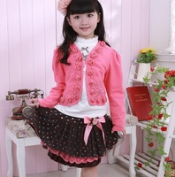 2013 New arrival autumn sweet girl's rose floral decorate clothing set (1 set= 1 coat +1 t-shirt +1 skirt)