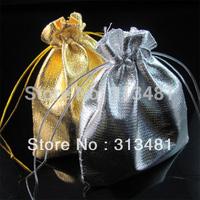 Wholesale 100pcs/pcs 10*11.5cm Gold Silver Drawstring Organza Jewelry Pouches Bag Wedding Jewellery Bag FRG13