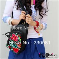 Hot Selling 2013 Fashion New Arrival Genuine Leather Bags/ Knapsack Ethnic Embroidery Shoulder Hobo Bag