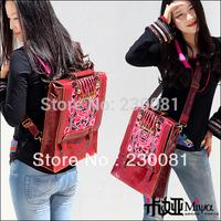 New 2013 Red Handbag Shining Genuine Leather Embroidery Vintage Banquet Knapsack/Messenger SHoulder Bag