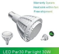 Cree LED within fan for heat sink PAR30 30W 2700lm E27 AC/DC110-240V LED spotlight Par30 led bulb CE ROHS