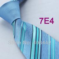 Coachella Men's ties New design Blue Knot Contrast Turquoise Stripes Woven Necktie Formal Neck Tie to match dress shirts Wedding