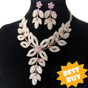 18K Gold Plated Flower Wedding Bridal Austrian Crystal Rhinestone Vintage Necklace ...