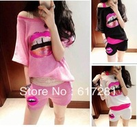 Special price women Sequin leisure bat sleeve T-shirts and shorts sportswear