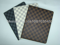 High quality  PU embossed leather case for apple ipad2 iPad 3  smart cover check pattern case free shipping