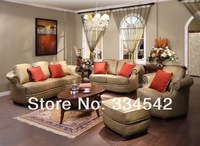 antique living room furniture,genuine leather sofa,sofa set 1+2+3+ottoman
