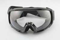 FREE SHIPPING Ski Motorcycle Winter Sports Goggles Eyewear Single Lens Clears Frame Black