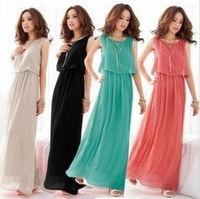 Size L-XL,Free Shipping 2013 Summer Fashion women's maxi dresses Bohemian chiffon beach floor-length dress WR0005
