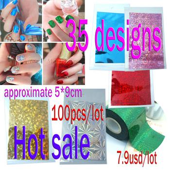 (100pcs/lot)New arrival Nail Art Transfer Foil  Nail Sticker 5*9cm/pcs (100pcs/lot)35 Designs(NS01)