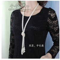 Overlength Double Necklace South Korean fashion All-match Pearl Sweater chain .   Minimum Order be $10 Free shipping , Can Mix .