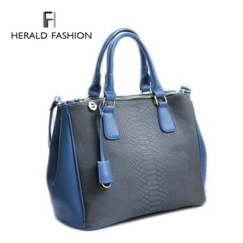 brand vintage fashion briefcase high quality commuter  big lady women female handbag shoulder bag tote blue black bolso 140603H