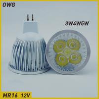 Wholesale(5pieces/lot)led light 12v mr16 led 3W4W5W AC/DC12V white/warm white LED Downlight Bulb Light Spot Light  Free shipping