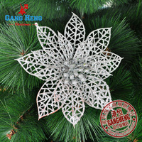 Free Shipping(12pcs/lot) -5 inches Golden Silver Red xmas flower Christmas tree  Decoration ornaments