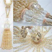 Bege laço cordão contas cortina Tiebacks Tie faz borlas com Crystal Ball para cortina tapeçaria Mousquito Net(China (Mainland))
