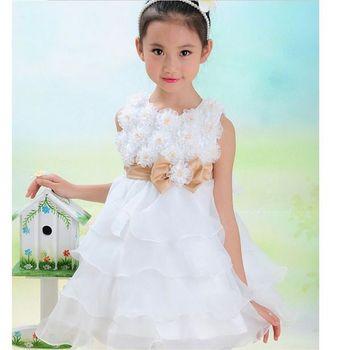 Girls Toddler 3D Flower Tutu  Princess Wedding Party Bow Kids Formal