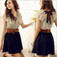 2013 top Fashion Women's Summer Short Sleeve Chiffon Dots Polka Waist Top Dress vestido S M L for cute girl #FF10204A