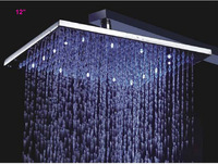 "Free Shipping Wholesale And Retail  Chrome Finish 12"" Square ABS LED Rain Shower Head +Shower arm set"
