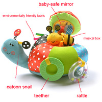 New With Tags British Style Baby Toys Cute Soft Snail Plush Toys With Musical Box & Rattle Sounding Toys