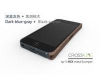 Free shipping !1piece 100% Cross-line Original!Crossline SP-5 Wood mix Aluminum metal bumper Case For iPhone 5G!