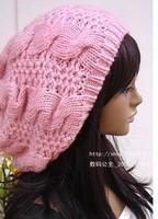 2014 Women Lady Beret Braided Baggy Beanie Crochet Hat Ski Cap Fashion White