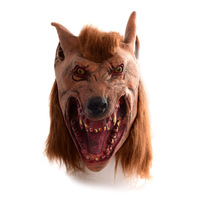 Reduction in price#Halloween brown Creepy Adult wolf head latex Rubber Mask Costume Prop Novelty nu