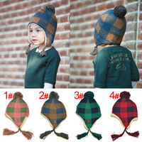 Autumn and winter hat Korean and cashmere color lattice children's knitted  winter hats for boys  (4 colors)JH214