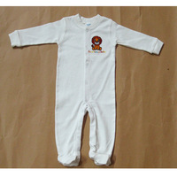 Free shipping 100% cotton 2014 new baby rompers infant rompers newborn long sleeve autumn -summer clothing 1pc romper+1pc bib