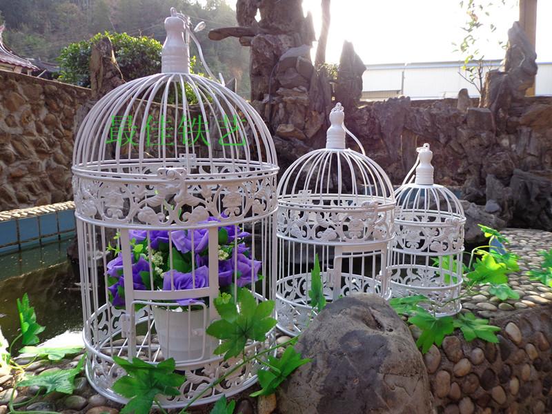 Grátis frete decoração de casamento adereços de casamento de ferro gaiola gaiolas de pássaros 19 * 19 * 35 cm(China (Mainland))