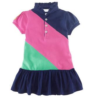 Wholesale High Quality 2014 baby girl POLO Dresses Children Girls Short-sleeved Slash patchwork dress size 2-7T 6pcs/lot