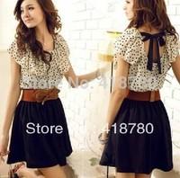 free shipping A promotion 2014 women's chiffon dress fashion polka dot summer short-sleeve dress women classic school dress