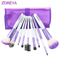 Zoreya purple lacing 9 make-up multifunctional cosmetic brush set loose powder brush