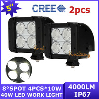 2x New 40W Cree Led Working Light Bar Dual Row 10~45V Spot Beam 8 Degree LED Offroad Lamp Driving White free shipping